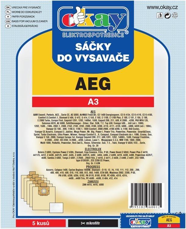 Sáčky do vysavače Sáčky do vysavače AEG A3 10ks