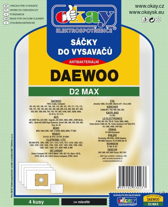 Sáčky do vysavače Sáčky do vysavače Daewoo D2 MAX, 8ks