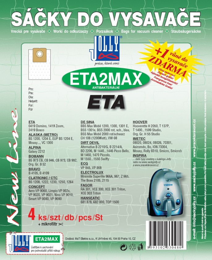 Sáčky do vysavače Sáčky do vysavače ETA 2 MAX 8ks