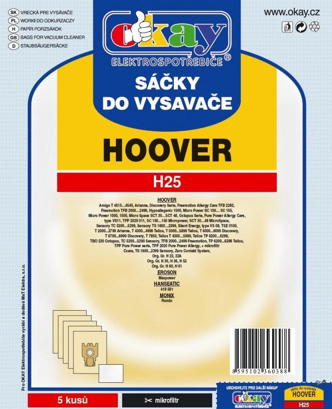 Sáčky do vysavače Sáčky do vysavače Hoover H25, 10ks
