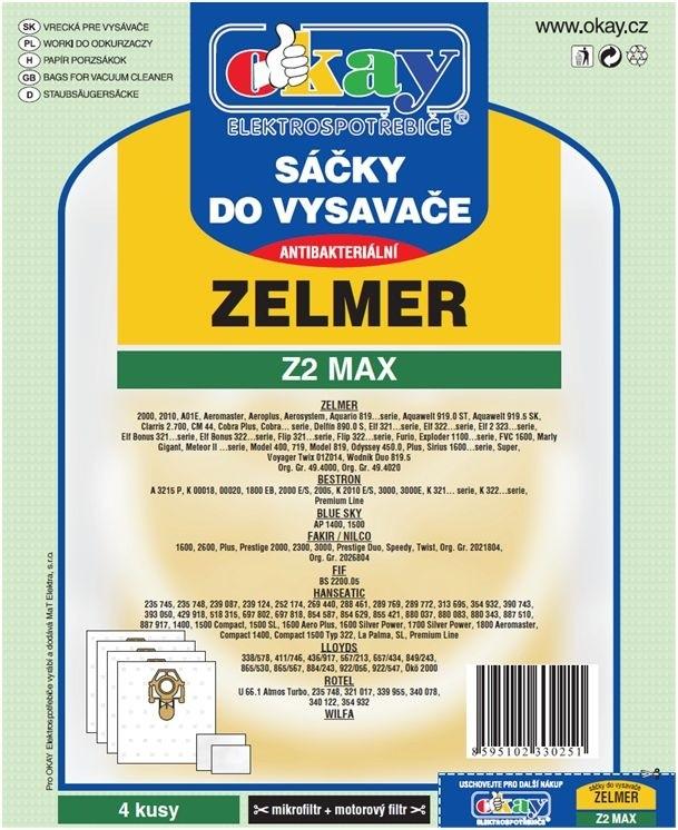 Sáčky do vysavače Sáčky do vysavače Zelmer Z2 MAX 8ks