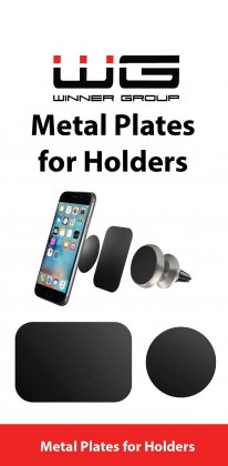 Sada kovových nalepovacích plíšků pro držáky do auta, černá