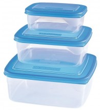 Sada plastových čtvercovách dóz HEIDRUN HDR1802, 3ks ,0,6x1x1,8l