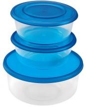 Sada plastových kulatých dóz HEIDRUN HDR1803, 2x0,7l + 1x1,7l