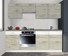 Santis - Kuchyňský blok 240cm (figaro/bílá,PD travertin tmavý)