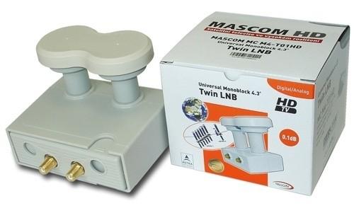 Satelitní příslušenství LNB Mascom Monoblock Twin MCM4T01HD Gold 4.3°