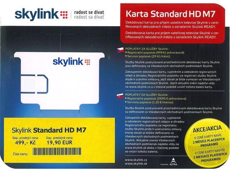 Satelitní příslušenství Skylink karta Standard HD M7