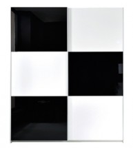 Šatní skříň Colin SZF/183, bílá/černá lesk - II. jakost