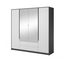 Šatní skříň Klaudia - 200x202x57 cm (grafit/bílá)