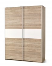 Šatní skříň Lima - s posuvnými dveřmi (dub sonoma/bílá)