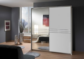 Šatní skříň Medina - 2x posuvné dveře (alpská bílá)