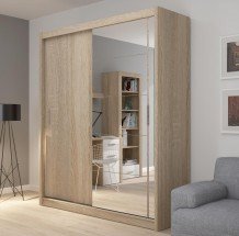 Šatní skříň Miriam (180/216/61 cm, zrcadlo)