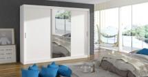Šatní skříň Mosela - 250x215x61 cm (bílá)
