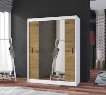 Šatní skříň Ragla - 120x215x61 cm (bílá, dub artisan)