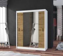 Šatní skříň Ragla - 150x215x61 cm (bílá, dub artisan)