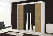 Šatní skříň Ragla - 180x215x61 cm (bílá, dub artisan)