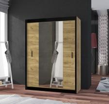 Šatní skříň Tofta - 150x215x61 cm (dub craft, černá)
