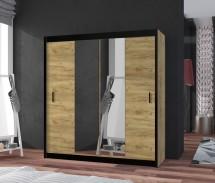 Šatní skříň Tofta - 180x215x61 cm (dub craft, černá)
