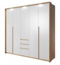 Šatní skříň Xelo 230 cm (dub zlatý/bílá) - II. jakost