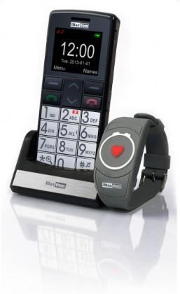 Senior telefon Set pro seniory Maxcom Comfort MM715 + SOS náramek, černá