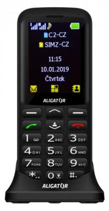 Senior telefon Tlačítkový telefon pro seniory Aligator A700, černá