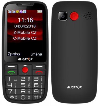 Senior telefon Tlačítkový telefon pro seniory Aligator A890, černá