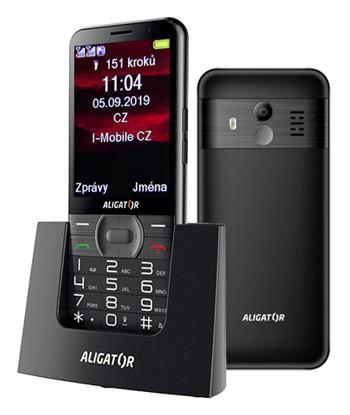 Senior telefon Tlačítkový telefon pro seniory Aligator A900, černá