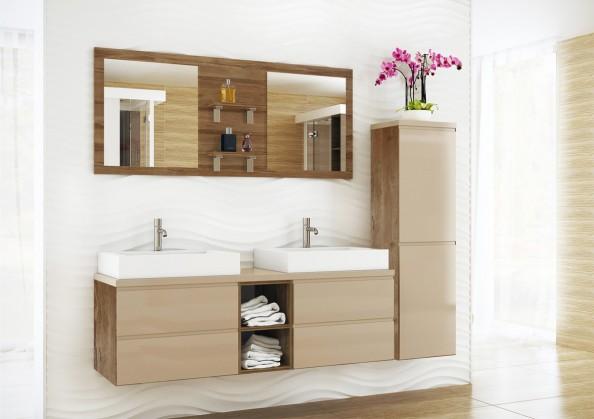 Sestava do koupelny Genova - Koupelnová sestava,2 umyvadla (nube,boky tm.bříza)