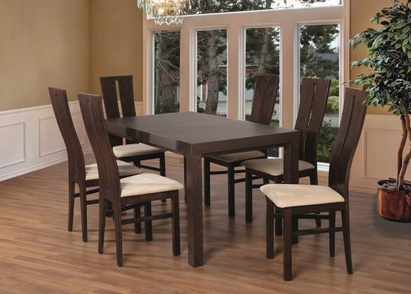 Set 1 - 6x židle, stůl, rozkládací (ořech tmavý/nubuk 111W/buk)