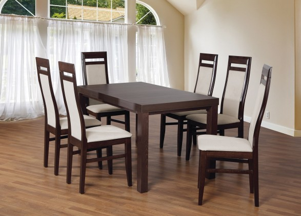 Set 3 - 6x židle, stůl, rozkládací (wenge/nubuk 02W/buk)