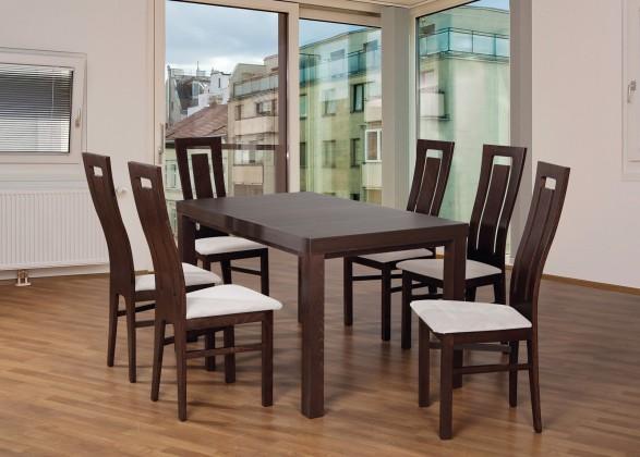 Set 4 - 6x židle,1x stůl,rozklad (ořech tmavý/lana 21/buk)