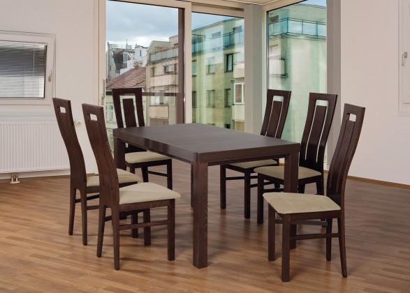 Set 4 - 6x židle,1x stůl,rozklad (ořech tmavý/lana 22/buk)