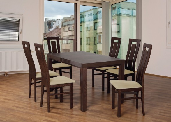 Set 4 - 6x židle,1x stůl,rozklad (ořech tmavý/madryt 111/buk)