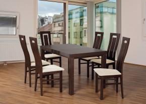 Set 4 - 6x židle,1x stůl,rozklad (ořech tmavý/nubuk 111W/buk)