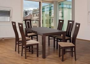 Set 4 - 6x židle,1x stůl,rozklad (ořech tmavý/nubuk 126W/buk)