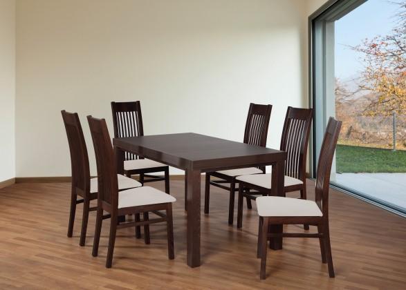 Set 6 - 6x židle,1x stůl,rozklad (ořech tmavý/lana 21/buk)