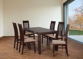 Set 6 - 6x židle,1x stůl,rozklad (ořech tmavý/nubuk 126W/buk)