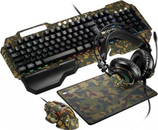 Set Canyon Argama, klávesnice+myš+podložka+headset, maskáčová