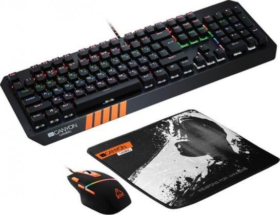 Set Canyon Nightflyer, myš+podložka+klávesnice, US layout, černá