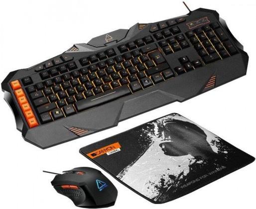 Set klávesnice s myší Set Canyon Leonof, myš+podložka+klávesnice, US layout, černá