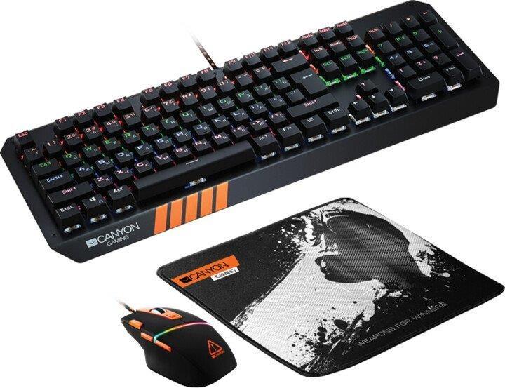 Set klávesnice s myší Set Canyon Nightflyer, myš+podložka+klávesnice, US layout, černá