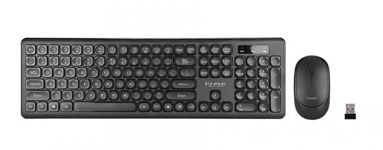 Set klávesnice s myší Set Marvo DCM003WE BK, klávesnice s bezdrátovou myší, US, černá
