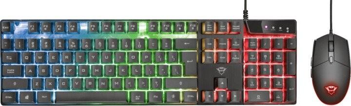 Set klávesnice s myší Set Trust GXT 838 Azor, drátový, barevné podsvícení, černá