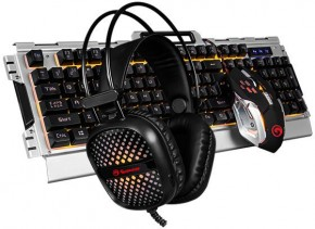 Set Marvo CM303, herní, klávesnice+myš+sluchátka, CZ/SK, černá