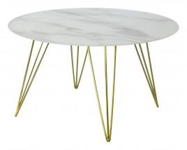 Sevilla - konferenční stolek, skleněná deska, mosazné nohy