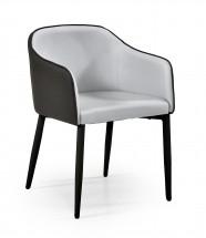 SHIFT - Jidelní židle, šedo-černá (ocel, eko kůže)