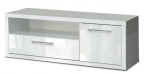 Shine - TV komoda, 2x zásuvka (bílá lesk)