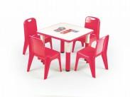 Simba - Výškově nastavitelný dětský stolek (bílá/červená)