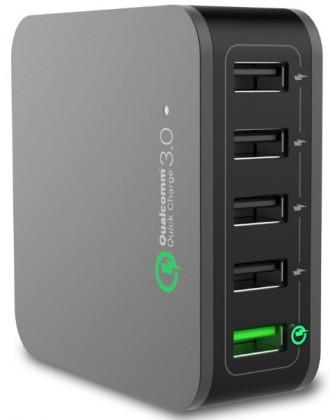 Síťové nabíječky (230V) QC-020P Qualcomm MULTI CESTOVNÍ DOBÍJEČ USB 3.0 (5x) - ČERNÝ