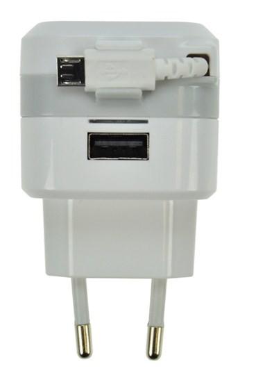Síťové nabíječky (230V) Solight USB nabíjecí adaptér, navíjecí kabel micro USB + 1x USB